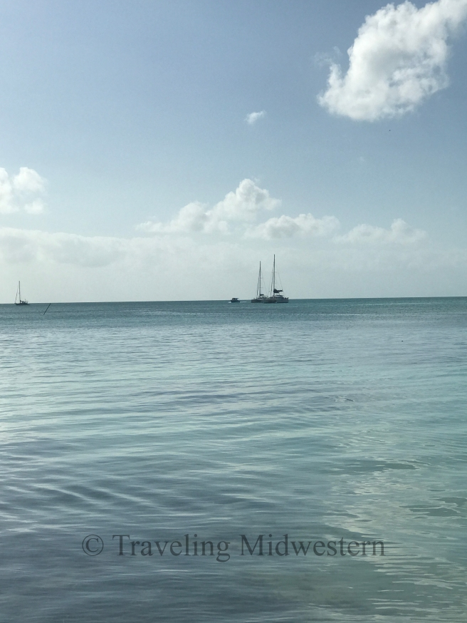 sailboats on the way to caye caulker
