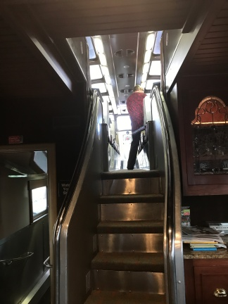 stairs going up to the dome car on The Duluth Zephyr