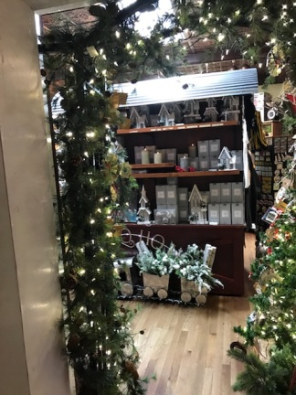 Christmas decorations in an Amana shop