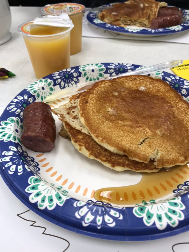 pancake breakfast at Vergas Maple Syrup Fest