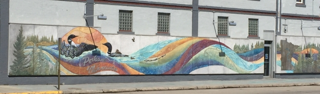 A mural welcomes visitors to Perham MN